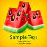 Watermelon on yellow Stock Images