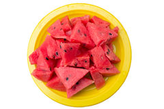 Watermelon on the yellow plate Stock Images