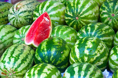 Watermelons. Close up of watermelons being sold in a Dubai Fruit Market Royalty Free Stock Photos