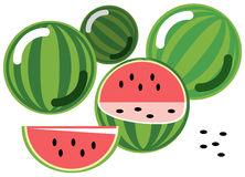Watermelons. Illustration of simplistic watermelons with half and wedge, isolated on white Stock Image