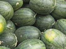 Watermelons. Background of watermelons for sell at market, Nakhon Si Thammarat, Thailand Stock Photos