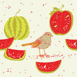 Watermelons and bird Royalty Free Stock Photography