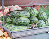 Watermelons in cart at Taiwanese traditional market Stock Photos