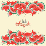 Watermelons and cursive lettering phrases Hello, August. Stock Image