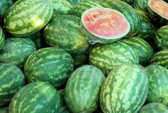 Watermelons on display Stock Photos