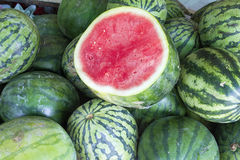 Watermelons at Fruit Stand Closeup Royalty Free Stock Photos