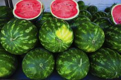 Watermelons on green market Stock Photography