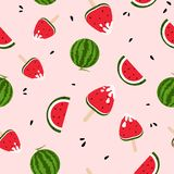 Watermelons, ice cream, yummy, freshness seamless pattern colorful, summer season, splashing of ink background texture vector royalty free illustration