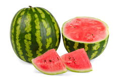 Watermelons isolated on white (with clipping path) Stock Photos