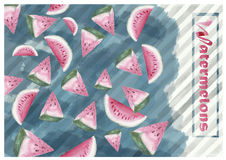 Watermelons. Just watermelon slices that were painted in watercolour stock photos