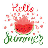 Watermelons and lettering hello summer. Design for greeting card and invitation of seasonal summer holiday. Watermelon slices with seeds in the polygonal style Stock Photos
