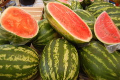 Watermelons on the market Royalty Free Stock Image