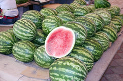 Watermelons on the market Stock Photos