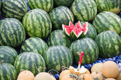 Watermelons on a market Stock Images