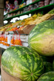 Watermelons And Other Fruits On Display At Farmers Market Stock Photography