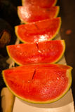 Watermelons. This photo shows a bunch of watermelons arranged in a row Royalty Free Stock Image