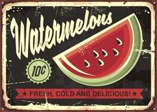 Watermelons retro advertise. With watermelon slice on dark, black background. Vintage art Stock Photos