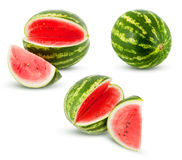 Watermelons. Ripe watermelon on a white background, juicy slice of watermelon, slices of ripe watermelon, watermelon in different perspectives, fresh watermelon Stock Photo