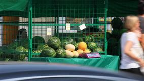 Watermelons for sale cars traveling on the foreground on the streets of Moscow stock footage