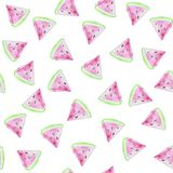 Watermelons seamless pattern. Background with watercolor watermelon slices royalty free illustration