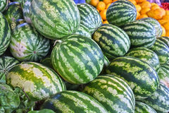 Watermelons on street market stall Stock Image