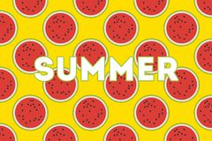 Watermelons on a yellow background. Summer design. Bright colorful background vector illustration
