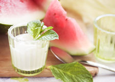 Watermelons and yogurt, shallow DOF Stock Image