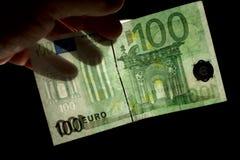 Watermerk 100 euro Stock Afbeeldingen