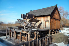 Watermill. Old wooden Slav watermill from Dobrylas, XIX century. Nowogrod Heritage Park, Masuria, Poland Royalty Free Stock Photo