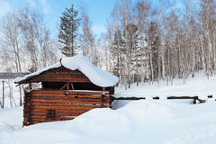 Watermill. The old wooden watermill, Siberia, Russia Stock Image