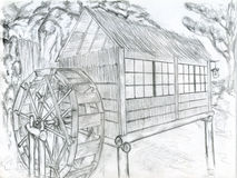 Watermill. It's a watermill as I imagine it, with a nice chinese paper lantern on the roof. Pencil drawing Royalty Free Stock Images