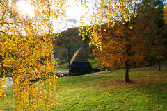 Watermill in Autumn Landscape. Autumn Landscape, beautiful vivid nature Stock Images