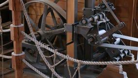 Watermill inomhus, stort hjul Mechanisam, Osijek Kroatien Royaltyfri Foto
