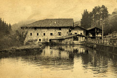 Watermill in Orozko with vintage postcard filter effect Royalty Free Stock Images