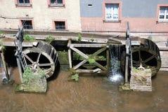 Watermill in oude romantische Stad Saarburg - Duitsland royalty-vrije stock afbeelding