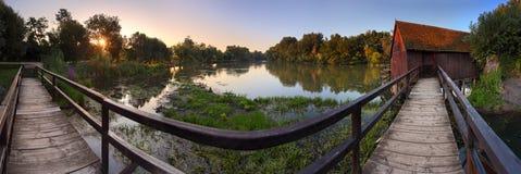 Watermill - panoramische Ansicht Lizenzfreies Stockbild