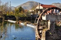 Watermill on tributary of The Trebishnjica river. Royalty Free Stock Image