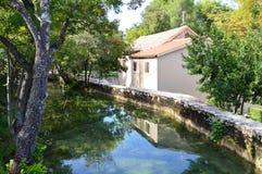 Watermill velho no parque nacional de Krka, Croácia Imagens de Stock