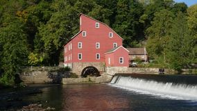 Watermill and Waterfall Pan stock footage