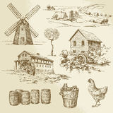 Watermill and windmill. Hand drawn collection Royalty Free Stock Photos