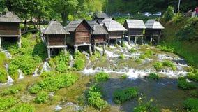 Watermills auf dem Fluss Pliva lizenzfreies stockbild
