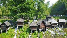 Watermills auf dem Fluss Pliva stockbilder