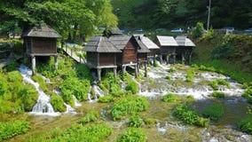 Watermills auf dem Fluss Pliva stockfotografie