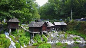 Watermills auf dem Fluss Pliva stockbild