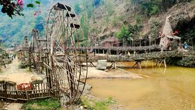 Watermills in CatCat village in SaPa Vietnam royalty free stock image