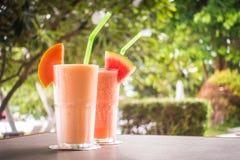 Watermon果子和木瓜汁圆滑的人在玻璃 图库摄影
