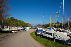 Watermouth harbour North Devon coast near Ilfracombe uk. In summer with boats out of the water royalty free stock images