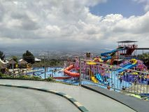 Waterpark. Beautiful Waterpark in the city Royalty Free Stock Photos