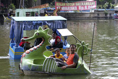 Waterpark. Citizens on vacation in a waterpark in the city of Solo, Central Java, Indonesia Stock Photos