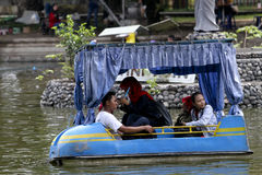 Waterpark. Citizens on vacation in a waterpark in the city of Solo, Central Java, Indonesia Stock Images
